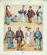 Ancient Japanese fashion and accessories from Geschichte des kostüms in chronologischer entwicklung (History of the costume in chronological development) by Racinet, A. (Auguste), 1825-1893. and Rosenberg, Adolf, 1850-1906, Volume 1 printed in Berlin in 1888