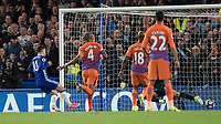 Football - 2016 / 2017 Premier League - Chelsea vs. Manchester City<br /> <br /> Eden Hazard of Chelsea slots home the rebound after Willy Caballero of Manchester City  saves his first attempt at Stamford Bridge.<br /> <br /> COLORSPORT/DANIEL BEARHAM