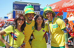 June 14, 2018 - Saint Petersburg, Russia - June 14, 2018. - Russia, Saint Petersburg. - Football fans from Brazil visit 2018 FIFA World Cup Fan Fest. (Credit Image: © Russian Look via ZUMA Wire)