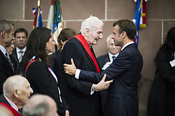 French President Emmanuel Macron attends a ceremony commemorating General Charles De Gaulle's June 1940 appeal for French resistance against Nazi Germany, at the Mont Valerien National Memorial in Suresnes on the outskirts of Paris on June 18, 2018. Photo by Eliot Blondet/ABACAPRESS.COM