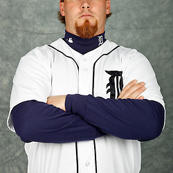 February 28, 2012; Lakeland, FL, USA; Detroit Tigers relief pitcher Phil Coke (40) poses for photo day in the rec room at the Detroit Tigers Headquarters.  Mandatory Credit: Derick E. Hingle-US PRESSWIRE