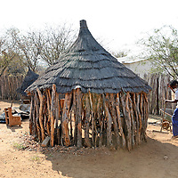 Africa, Namibia, Windhoek.  A traditional Namibian dwelling at Penduka development cooperation organization near Windhoek.