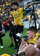 Hurricanes Ardie Savea leaves the field injured. Super Rugby Aotearoa. Hurricanes v Crusaders, Sky Stadium, Wellington. Sunday 11th April 2021. Copyright photo: Grant Down / www.photosport.nz