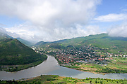 Elevated view of Mtskheta and the Mtkvari river, Georgia