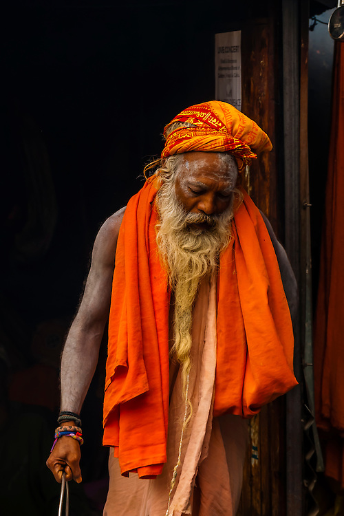 A saddhu (Holy Man) at a Hindu Temple, Bashisht, near Manali, Himachal Pradesh, India.
