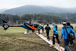 Andreas Goldberger (R), Markus Schiffner (AUT), Manuel Fettner (AUT) and  Michael Hayboeck (AUT) at Heliport prior to the Ski Flying Hill Men's Team Competition at Day 3 of FIS Ski Jumping World Cup Final 2017, on March 25, 2017 in Kranjska Gora, Slovenia. Photo by Vid Ponikvar / Sportida