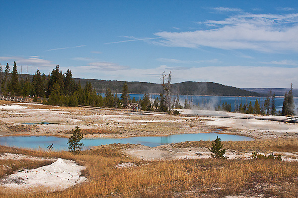 The ever changing fumaroles and pools  along the boardwalk passing through the Central Basin at West Thumb.  Yellowstone National Park, Wyoming, USA.