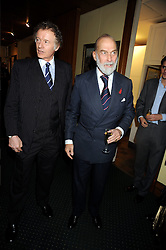 Left to right, RICHARD BRIGGS and HRH PRINCE MICHAEL OF KENT at a reception to support The Hyde Park Appeal held in the officers Mess, Household Cavalry Mounted Regiment, Hyde Park Barracks, London SW1 on 10th November 2008.