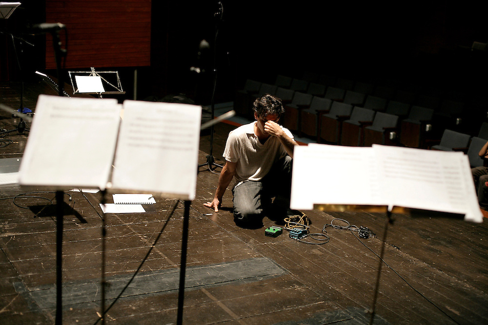 """Bass player and composer Adam Lane while directing the JACC workshop orchestra. """"Jazz ao Centro"""" jazz festival is held twice a year in portuguese town of Coimbra."""