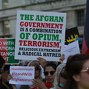 2021-09-07. 10 Downing street, London, UK. Hundreds of Afghani protest in London against Pakistan proxy war in Afghanistan.
