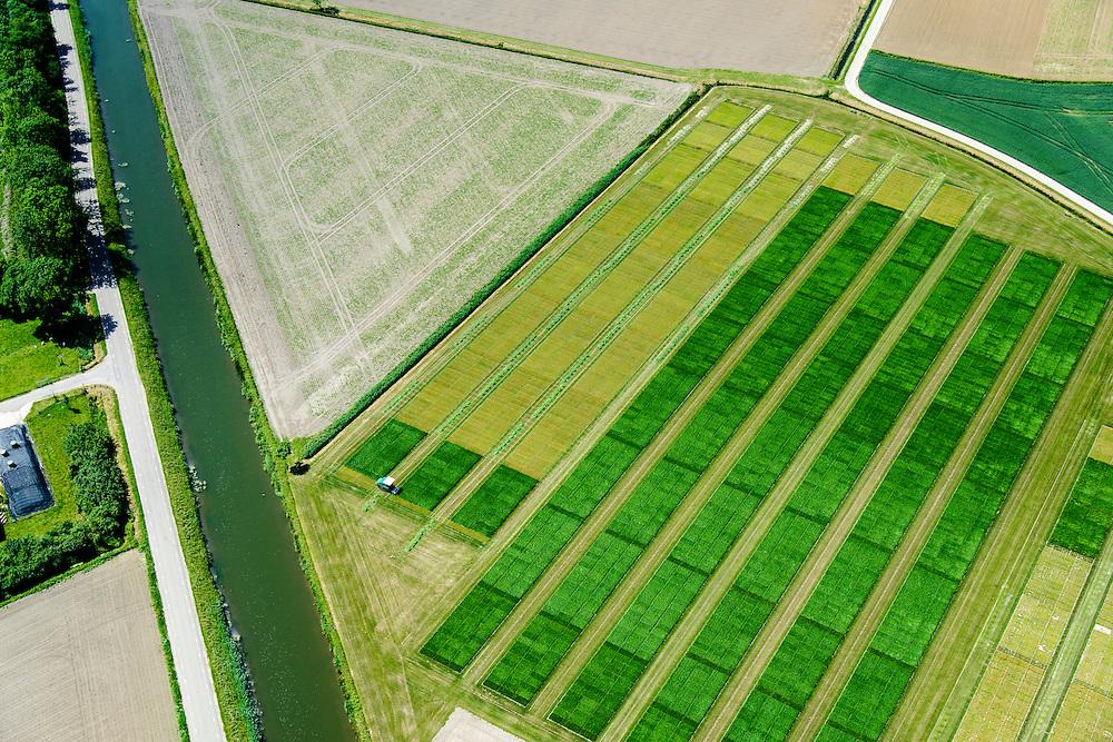 Nederland, Gelderland, Gemeente Overbetuwe, 09-06-2016; Valburg, maaien van gras in de vroege zomer ten behoeve van productie van veevoer (kuilgras). Rationele productie door gebruik te maken van GPS.<br /> Mowing grass in early summer for production of animal feed (silage). Rational production through the use of GPS.<br /> <br /> luchtfoto (toeslag op standard tarieven);<br /> aerial photo (additional fee required);<br /> copyright foto/photo Siebe Swart