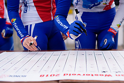 FDJ sign on at Drentse 8 van Westerveld 2018 - a 142 km road race on March 9, 2018, in Dwingeloo, Netherlands. (Photo by Sean Robinson/Velofocus.com)