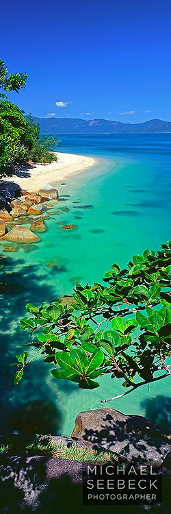 A vertical panoramic photograph taken of Nudey Beach, Fitzroy Island, on a perfect day.<br /> <br /> Code: VAQI0002<br /> <br /> Limited Edition print
