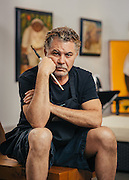 Alberto Godoy, Cuban painter, photographed in his Houston, TX gallery studio.<br />