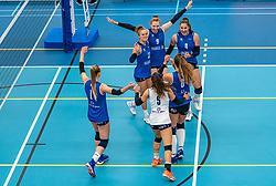 Ana Rekar #11 of Sliedrecht Sport, Maureen van der Woude #9 of Sliedrecht Sport, Jolijn de Haan #4 of Sliedrecht Sport in action during the supercup semifinal between VC Sneek and Sliedrecht Sport on October, 03 2020 in Van der Knaaphal, Ede