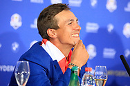 Thorbjorn Olesen (Team Europe) in media interview after the sunday singles at the Ryder Cup, Le Golf National, Paris, France. 30/09/2018.<br /> Picture Phil Inglis / Golffile.ie<br /> <br /> All photo usage must carry mandatory copyright credit (© Golffile | Phil Inglis)