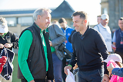 Johan Cruyff and Alessandro Del Piero. Alfred Dunhill Links Championship this morning at St Andrews.