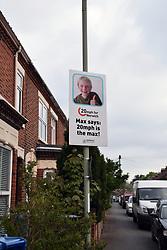 Traffic calming poster in Norwich, UK