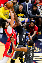 May 6, 2018 - New Orleans, LA, U.S. - NEW ORLEANS, LA - MAY 06:  New Orleans Pelicans forward Anthony Davis (23) drives to the basket against Golden State Warriors forward Draymond Green (23) during game 4 of the NBA Western Conference Semifinals at Smoothie King Center in New Orleans, LA on May 06, 2018.  (Photo by Stephen Lew/Icon Sportswire) (Credit Image: © Stephen Lew/Icon SMI via ZUMA Press)