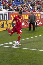 June 13, 2018 - Harrison, New Jersey, United States - Sean Davis (27) of Red Bulls kicks corner during regular MLS game against Seattle Sounders at Red Bull Arena Red Bulls won 2 -1  (Credit Image: © Lev Radin/Pacific Press via ZUMA Wire)