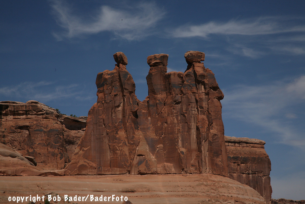 Three Sisters rock formation in Arches National Park outside Moab, Utah