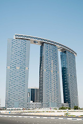 Construction nearing completion of The Gate Towers on Al Reem Island in Abu Dhabi United Arab Emirates
