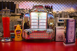 General view of a table at Ed's Diner in Victoria, central London, as nearly 400 jobs will be cut across Ed's Easy Diner locations after the brand was bought out by the restaurant arm of food mogul Ranjit Boparan.