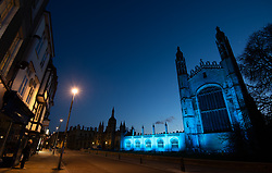King's College at Cambridge University is bathed in blue light to salute local heroes during Thursday's nationwide Clap for Carers NHS initiative to applaud NHS workers fighting the coronavirus pandemic.