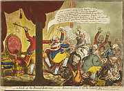 A Kick at the Broad-Bottoms!'  George III kicking  Lord Grenville's  bottom and dismissing Grenville's ministry. King opposed Roman Catholic Army and Navy Service Bill. James Gilray cartoon 1807. Religion Anti-Catholic