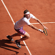 PARIS, FRANCE June 11.   Stefanos Tsitsipas of Greece in action against Alexander Zverev of Germany on Court Philippe-Chatrier during the semi finals of the singles competition at the 2021 French Open Tennis Tournament at Roland Garros on June 11th 2021 in Paris, France. (Photo by Tim Clayton/Corbis via Getty Images)