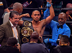 January 26, 2019 - Brooklyn, New York, USA - KEITH THURMAN (American flag trunks) celebrates after defeating JOSESITO LOPEZ in a WBA Welterweight Championship bout at the Barclays Center in Brooklyn, New York. (Credit Image: © Joel Plummer/ZUMA Wire)