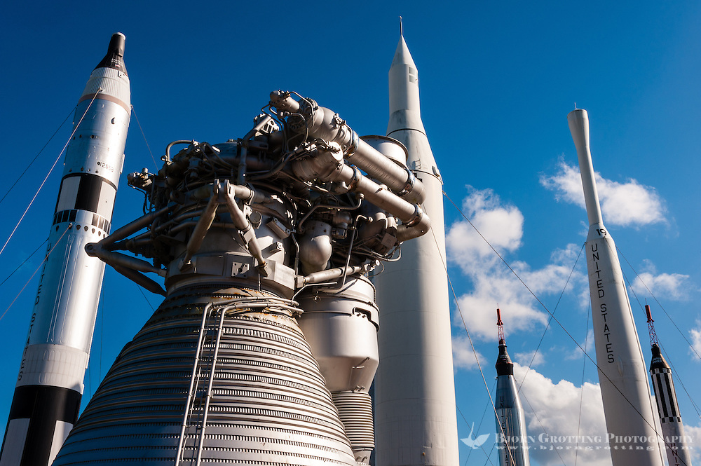US, Florida. John F. Kennedy Space Center. Rocket Garden at the Visitor Complex. From left Titan II, F-1 rocket engine for the Saturn V, Juno II, Mercury-Atlas, Thor-Delta and Mercury-Redstone.