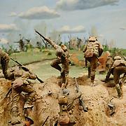 Dioramas depicting famous battles involving Australian military forces. Australian War Memorial in Canberra, ACT, Australia