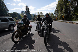Dave Currier had Milwaukee Tools behind him as a sponsor for the Motorcycle Cannonball coast to coast vintage run. Stage 15  (51 miles - the Grand Finish) from The Dalles to Stevenson, OR. Sunday September 23, 2018. Photography ©2018 Michael Lichter.