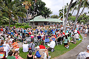 Free monthly concert of traditional Hawaiian music and dance at the Hulihe'e Palace, in honour of Hawaiian royalty. Kailua-Kona, Big Island, Hawaii RIGHTS MANAGED LICENSE AVAILABLE FROM www.PhotoLibrary.com