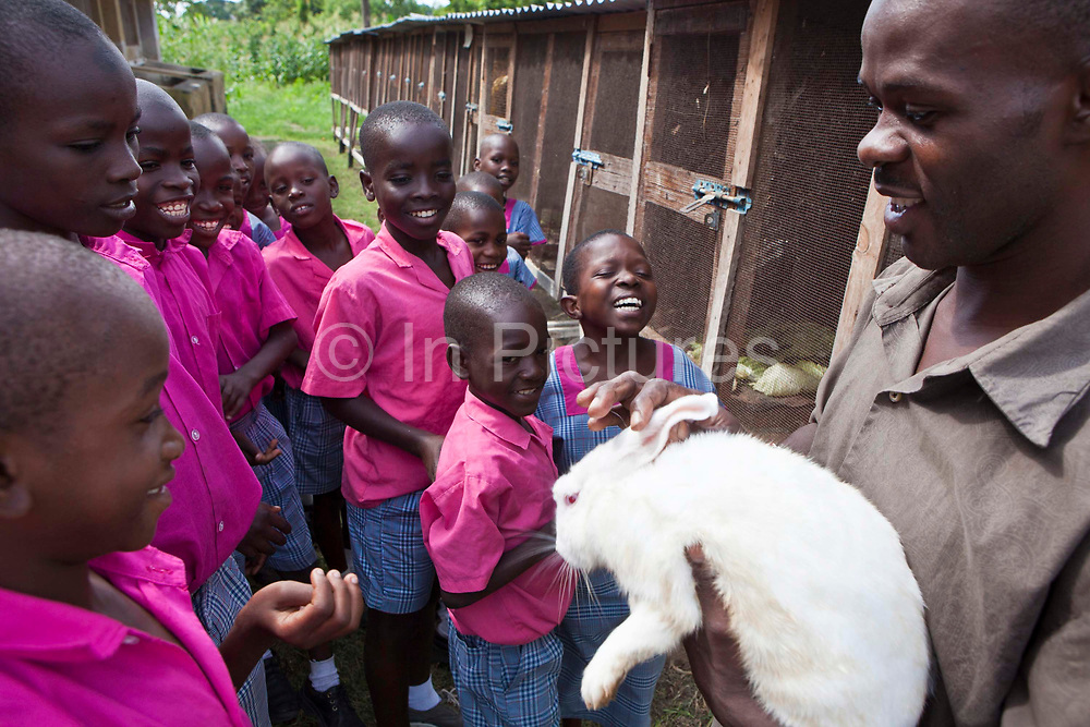 Felix Okumu is the Wema farm supervisor and he shows children from the Wema Centre, Mombassa, Kenya, the farm animals.  Wema provide a rehabilitation program for street children; poor, disadvantaged youth; and, orphaned and vulnerable children affected by poverty. Emotional support and education enables the children reintegration back into society.