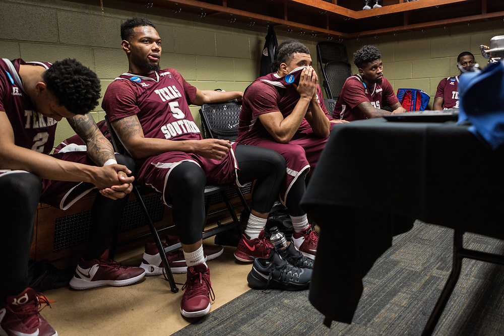 Greenville, South Carolina - March 17, 2017: TSU Tigers Ty Bynum, Dulani Robinson and Lamont Walker listen to the coaching staff in the locker room. The TSU Tigers played the UNC Tarheels in the first round of the 2017 NCAA Men's Tournament (Michael Starghill, Jr. for The Undefeated)