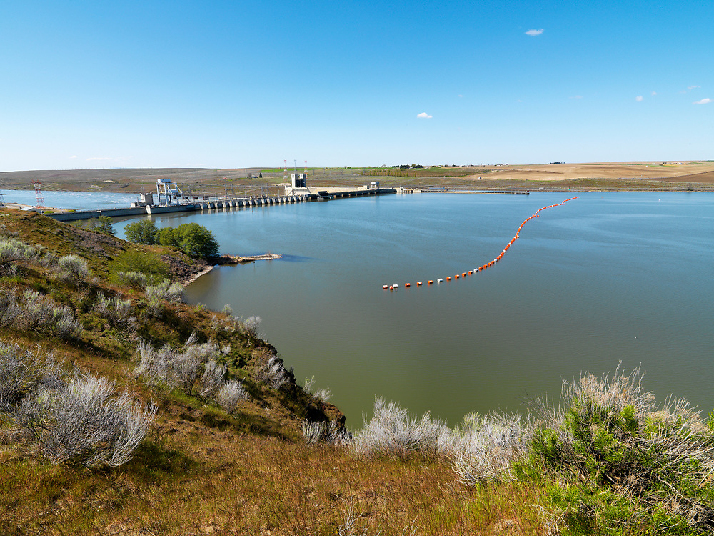 Upper view of Ice Harbor Dam  near the end of the Snake River before it joins the Columbia River down stream at Tri-Cities, Washington.  Licensing and Open Edition Print