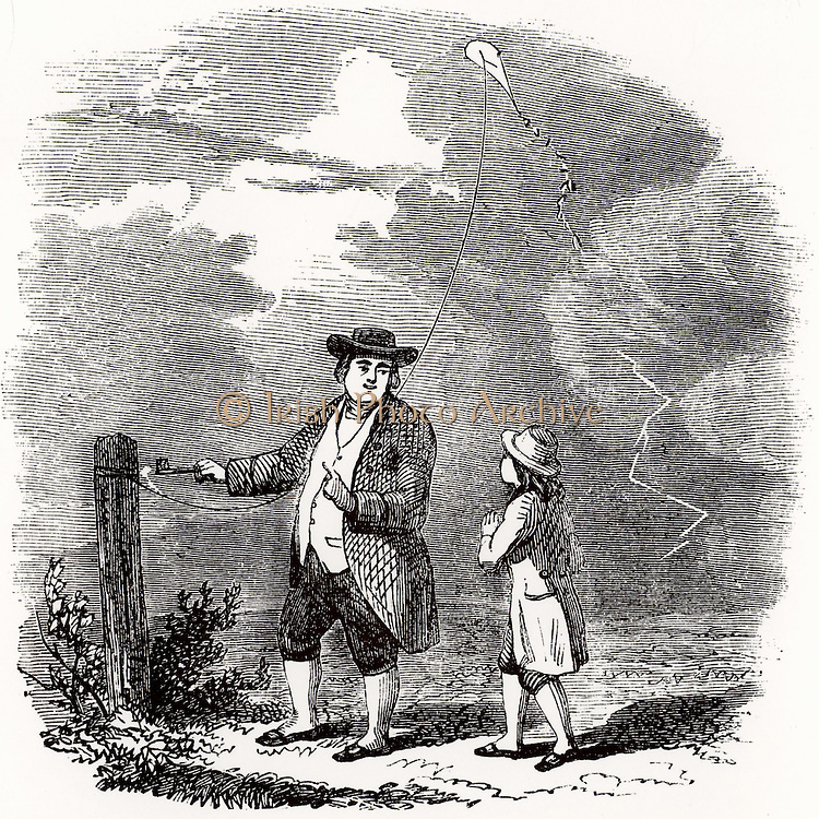 Artist's impression of the Benjamin Franklin's  (1706-1790) investigation of the electrical nature of lightning, made at Philadelphia, USA, in September 1752.  Franklin is flying a kite in a thunderstorm and is drawing a spark off the kite string using key. Engraving from 'The Boy's Playbook of Science' by John Henry Pepper (London, 1862).