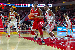 NORMAL, IL - February 16: Rey Idowu defends Elijah Childs during a college basketball game between the ISU Redbirds and the Bradley Braves on February 16 2019 at Redbird Arena in Normal, IL. (Photo by Alan Look)