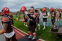 KELOWNA, BC - AUGUST 17:  Aiden HENNESSEY #45 of Okanagan Sun rallies the team after pre-game warm up against the Westshore Rebels  at the Apple Bowl on August 17, 2019 in Kelowna, Canada. (Photo by Marissa Baecker/Shoot the Breeze)