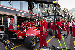 The Ferrari Team Racing stand's staff are working out to be ready for next races, during the 76th Monaco F1 Grand Prix, Monaco on May 24, 2018. Photo by Marco Piovanotto/ABACAPRESS.COM