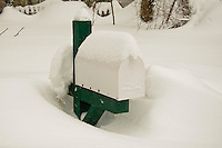 Mailbox covered by heavy snows