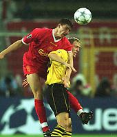 Fotball: UEFA Champions League 2001/2002. v.l.  Gregory VIGNAL, Jan Derek SOERENSEN (SØRENSEN) Dortmund<br />  Champions League   Borussia Dortmund - FC Liverpool  0:0