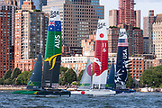 The second fleet race of day two of New York SailGP event. Team Australia, Team Japan and Team USA. Race Day 2 Event 3 Season 1 SailGP event in New York City, New York, United States. 22 June 2019. Photo: Chris Cameron for SailGP. Handout image supplied by SailGP