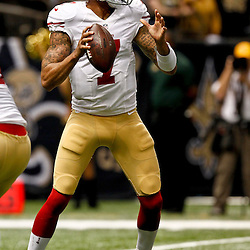 November 25, 2012; New Orleans, LA, USA; San Francisco 49ers quarterback Colin Kaepernick (7) against the New Orleans Saints during the second half of a game at the Mercedes-Benz Superdome. The 49ers defeated the Saints 31-21. Mandatory Credit: Derick E. Hingle-US PRESSWIRE