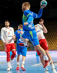 Stas Skube of Slovenia during handball match between National Teams of Slovenia and Poland in Qualification Phase 2 of Men's EHF Euro 2022 Qualifiers, on March 9, 2021 in Arena Zlatorog, Celje, Slovenia. Photo by Vid Ponikvar / Sportida