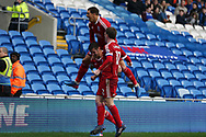 Lukas Jutkiewicz of Birmingham city © celebrates after he scores his teams 1st goal to equalise at 1-1. . EFL Skybet championship match, Cardiff city v Birmingham City at the Cardiff City Stadium in Cardiff, South Wales on Saturday 11th March 2017.<br /> pic by Andrew Orchard, Andrew Orchard sports photography.