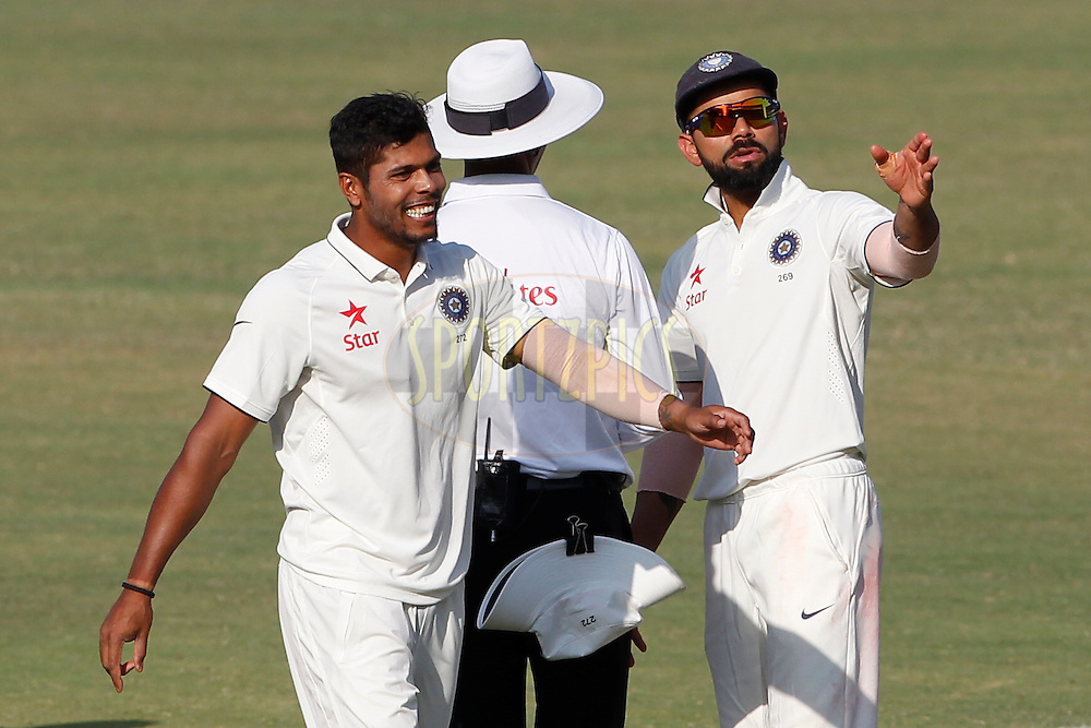 Virat Kohli Captain of India talk with Umpire during day 4 of the first test match between India and England held at the Saurashtra Cricket Association Stadium , Rajkot on the 12th November 2016.<br /> <br /> Photo by: Deepak Malik/ BCCI/ SPORTZPICS