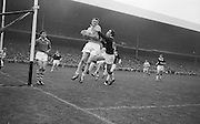All Ireland Senior Football Championship Final, Dublin v Galway, 22.09.1963, 09.23.1963, 22nd September 1963, Dublin 1-9 Galway 0-10,..Dublin Full Back L. Foley catchs a high ball near own goalmouth and returns to earth with Galway Full Forward S. Cleary on righy, .